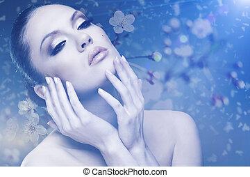 beauty., háttér, női, szabadban, virágos, portré