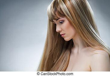 beauty hair - beauty woman with long hair