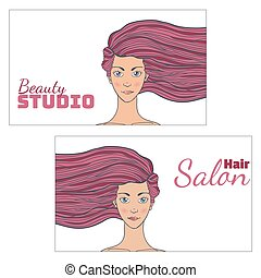 Beauty hair Studio Business Card with a picture of beautiful girl developing . Empty space for your text. Vector illustration.