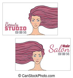 Beauty hair Studio Business Card with a picture of a beautiful girl with developing hair. Empty space for your text. Vector illustration.