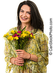 Beauty happy woman with freesias