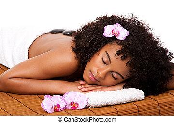 Beauty health day spa - hot stone massage - Beautiful happy...