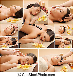 woman having facial or body massage in spa salon