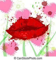 Beauty Hearts Represents Make Up And Female - Hearts Lips ...