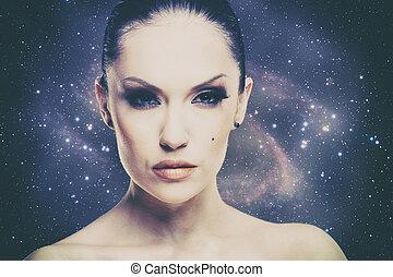 beauty, heelal, vrouwlijk, mode, verticaal