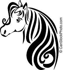Beauty horse - Beauty head hair horse vector stock