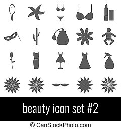 Beauty. Icon set 2. Gray icons on white background.