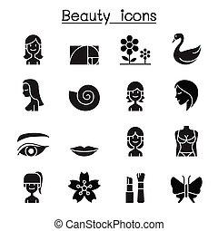 Beauty icon set flat style