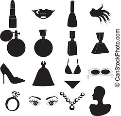 12 Vector Silhouette Icons for Beauty or Fashion. Also available as buttons and in color.
