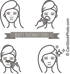 Beauty icons, acne treatment, face cleaning, mask