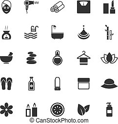 Beauty icons on white background
