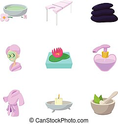 Beauty icons set, cartoon style