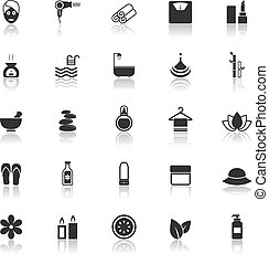 Beauty icons with reflect on white background