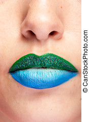 Beauty image of lips with artistic make up