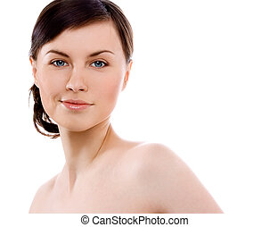 beauty - image of woman\'s face on white background