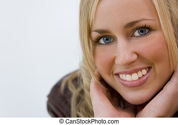 Beauty In Close Up - Portrait of a beautiful blond woman ...