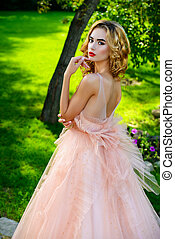 beauty in nature - Charming bride girl in a beautiful...