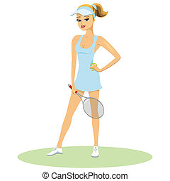 Beauty in tennis uniform wearing a peak with her hair in a ponytail posing with her hand on her hip holding a racquet