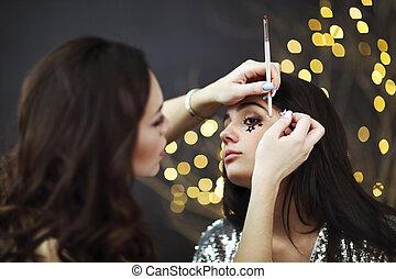 beauty, kunstenaar, opmaken, professioneel, afsluiten, salon.