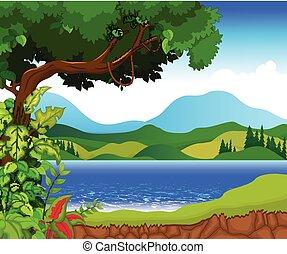 beauty lake landscape backgroud