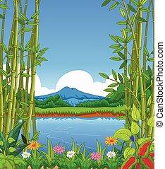 beauty lake landscape background