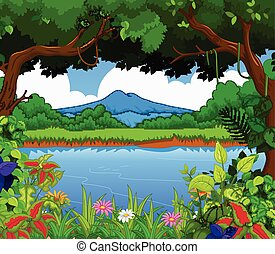 beauty lake with landscape view bac