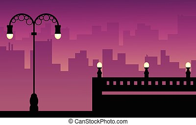 Beauty landscape city with street lamp