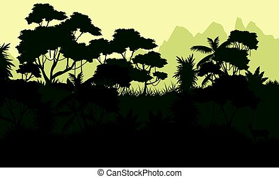 Beauty landscape forest silhouette style
