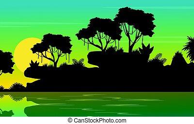 Beauty landscape jungle on the sea silhouette