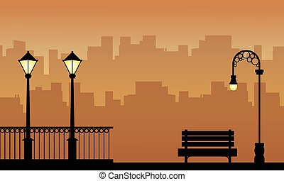 Beauty landscape of street lamp with fence silhouettes