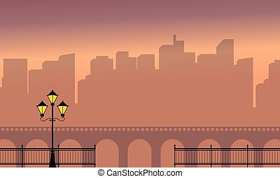 Beauty landscape of town and bridge silhouette