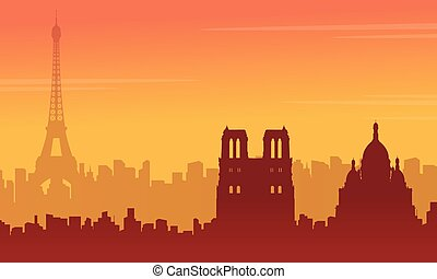 Beauty landscape Paris city skyline silhouette