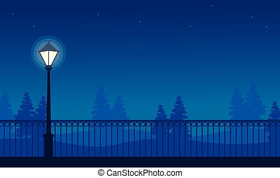 Beauty landscape park with street lamp at night