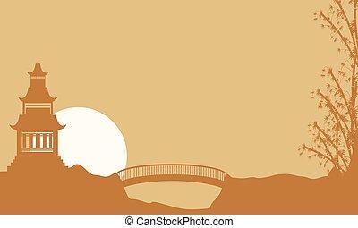 Beauty landscape pavilion with bridge silhouette