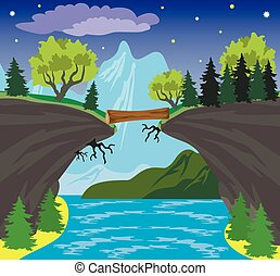 Beauty landscape with lake and mountain background