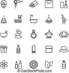 Beauty line icons on white background