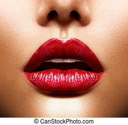 beauty, lips., makeup, lippen, sexy, rood