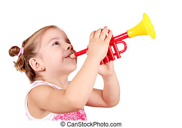 little girl play trumpet - beauty little girl play trumpet