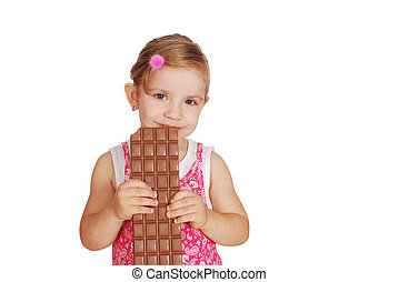 beauty little girl with chocolate