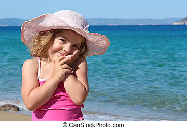 beauty little girl with hat