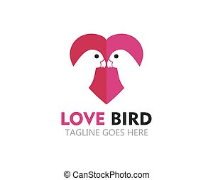 beauty lovebird logo vector icon template