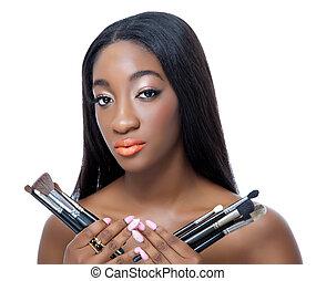 beauty, maken, borstels, op, vasthouden, afrikaan