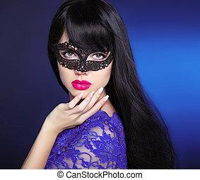 Beauty Makeup. Beautiful brunette. Manicured nails. Black long hair style