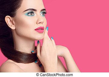 Beauty makeup. Fashion women closeup portrait. Blue ...