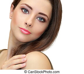 Beauty makeup female face looking. Closeup isolated portrait
