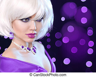 Beauty makeup Portrait Woman. Fashion Bob Blond Girl. White Short Hair. Gems jewelry pendant. Face Close up. Hairstyle. Fringe. Vogue Style.