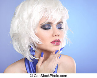 Beauty makeup Portrait Woman. White Hair. Short hairstyle.  Blue manicured nails. Face Close up. Hairstyle. Fringe. Vogue Style.