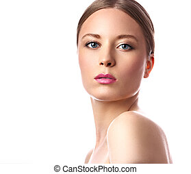 Beauty makeup woman with pink lipstick. Blond hairstyle. Closeup bright isolated portrait