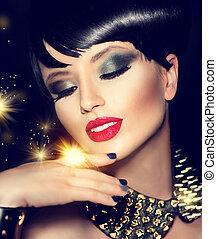 beauty, mannequin, meisje, met, helder, makeup, en, gouden, accessoires