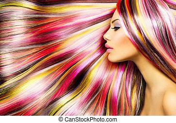 beauty, mannequin, meisje, met, kleurrijke, gekleurd haren
